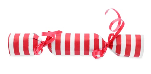 Bright striped Christmas cracker isolated on white, top view