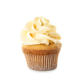 Delicious birthday cupcake decorated with cream on white background