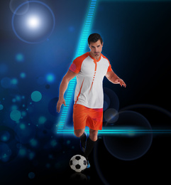 Shot of football player in action. Creative design