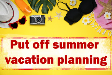 Vacation cancellation concept. Flat lay composition with beach objects on yellow background