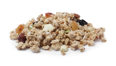 Pile of granola on white background. Healthy snack