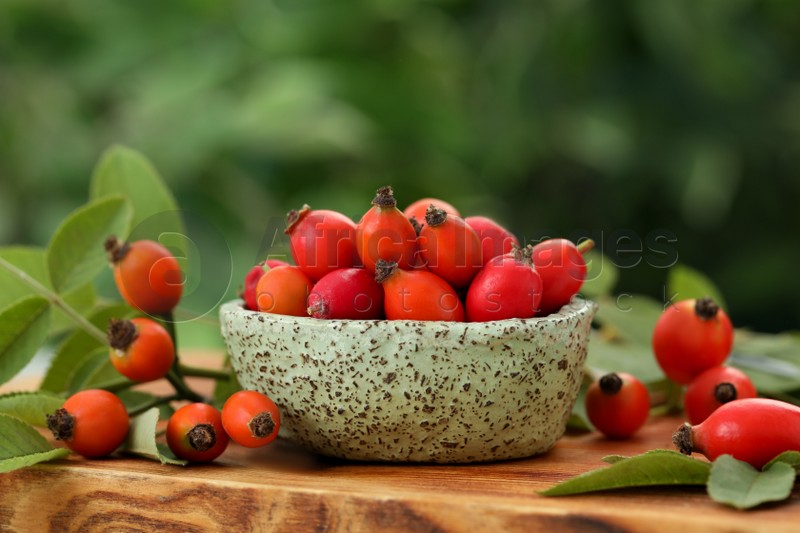 Ripe rose hip berries with green leaves on wooden table outdoors