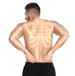 Man having backache on white background. Digital compositing with illustration of spine