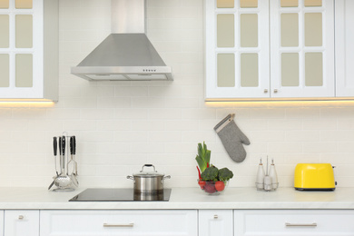 Pot on stove and fresh vegetables in modern kitchen