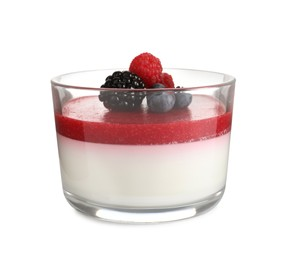 Delicious panna cotta with fruit coulis and fresh berries isolated on white