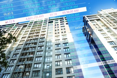 Double exposure of online trading platform and buildings in city center. Stock exchange