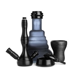 Parts of modern hookah on white background