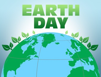 Happy Earth Day. Illustration of planet with green leaves on light background