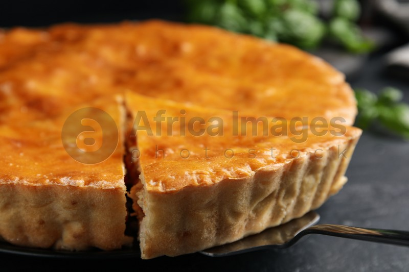 Delicious pie with meat on black table, closeup