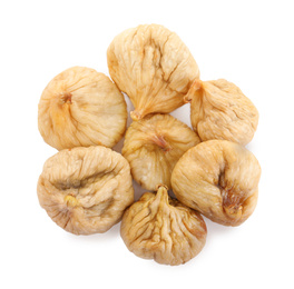Pile of tasty dried figs isolated on white, top view