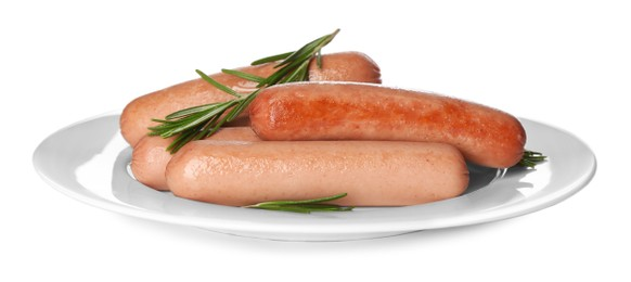 Delicious vegetarian sausages with rosemary on white background