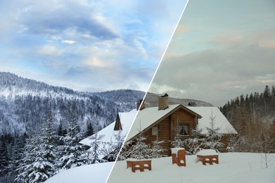 Photo before and after retouch, collage. Wooden cottage near snowy forest outdoors on winter day