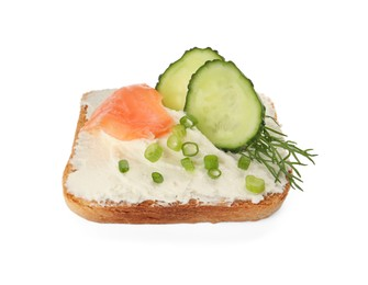 Delicious sandwich with cream cheese, salmon, cucumber and herbs isolated on white