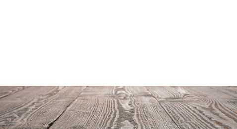 Empty grey wooden surface isolated on white. Mockup for design
