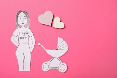 Being single mother concept. Woman with pram made of paper on pink background, flat lay. Space for text