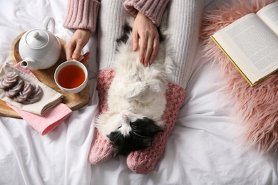Woman stroking adorable cat on bed, top view