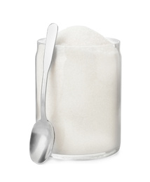Glass jar with sugar and spoon isolated on white