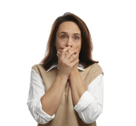 Mature woman feeling fear on white background
