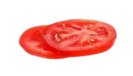 Juicy tomato slices isolated on white. Sandwich ingredient
