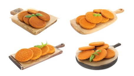 Set with delicious fried breaded cutlets on white background