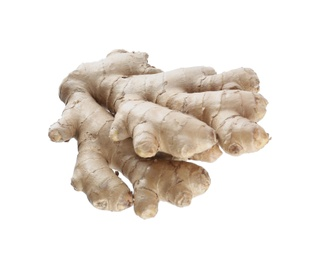 Whole fresh ginger root isolated on white