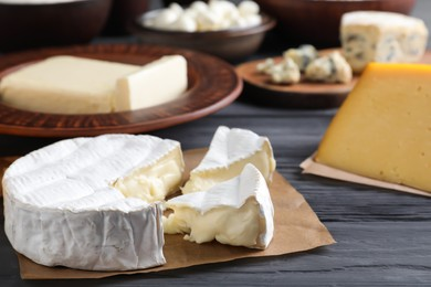 Clay dishware with fresh dairy products, focus on cheese, closeup