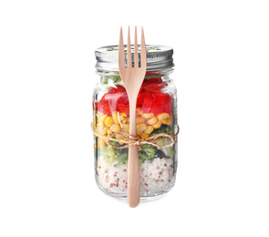 Glass jar with healthy meal and wooden fork isolated on white