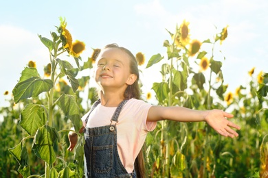Cute little girl with sunflowers outdoors. Child spending time in nature