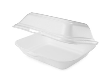 Disposable plastic lunch box isolated on white