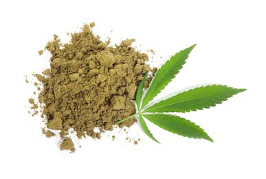 Pile of hemp protein powder and fresh leaf on white background, top view