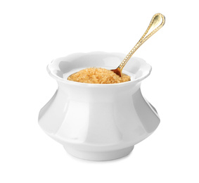 Ceramic bowl with brown sugar and spoon isolated on white