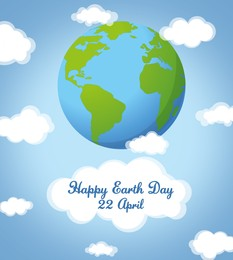Happy Earth Day. Illustration of planet and blue sky with clouds