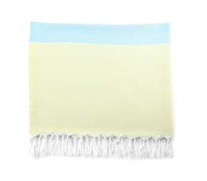 Color towel isolated on white, top view. Beach object