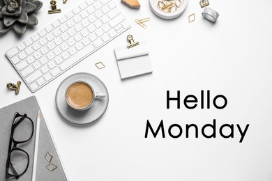 Hello Monday, start your week with good mood. Flat lay composition with keyboard and coffee on white background