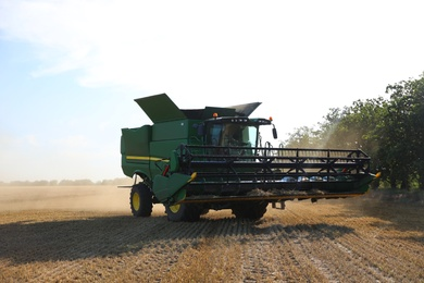 Modern combine harvester in field. Agricultural industry