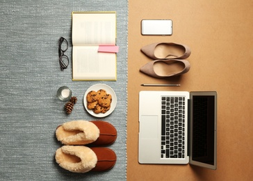 Flat lay composition with business items and home accessories on color background. Concept of balance between work and life