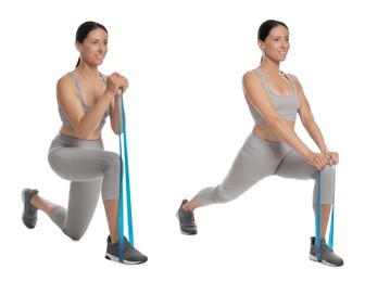 Woman doing sportive exercises with fitness elastic band on white background, collage