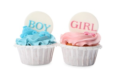 Baby shower cupcakes with Boy and Girl toppers on white background