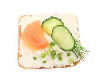 Delicious sandwich with cream cheese, salmon, cucumber and herbs isolated on white, top view