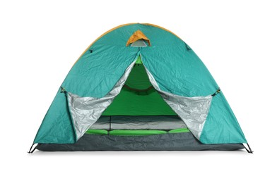 Bright turquoise camping tent on white background