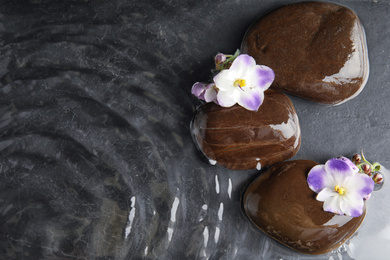 Stones and flowers in water on dark background, flat lay with space for text. Zen lifestyle