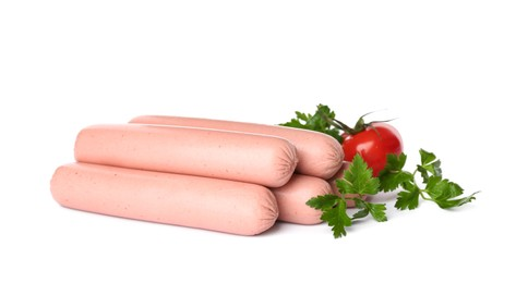 Raw vegetarian sausages with tomato and parsley on white background