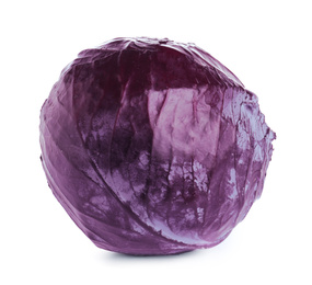 Fresh ripe red cabbage isolated on white