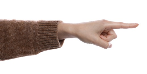 Woman pointing with index finger on white background, closeup