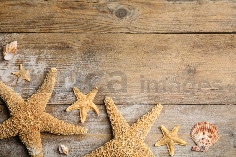 Beautiful sea stars, shells and sand on wooden background, flat lay. Space for text