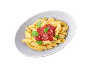 Tasty pasta with tomato sauce, basil and cheese isolated on white, top view