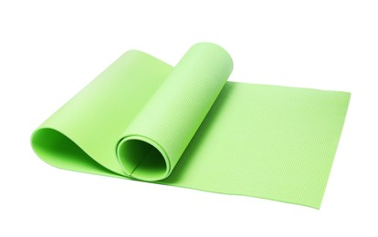 Light green camping mat isolated on white