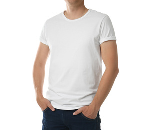 Man in t-shirt on white background, closeup. Space for design