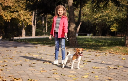 Cute little girl with her pet in park. Autumn walk
