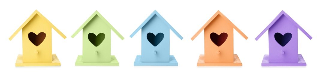 Set with different colorful bird houses on white background, banner design